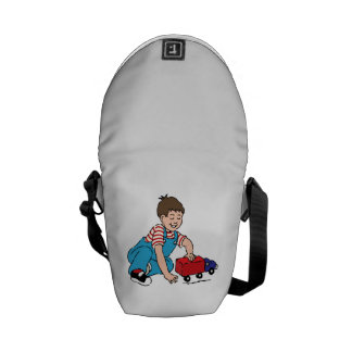 Child Playing with Toy Truck Messenger Bags
