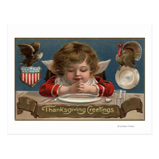 Child Praying at Dinner-Table Postcard