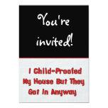 "Child-Proofing Failure 5"" X 7"" Invitation Card"