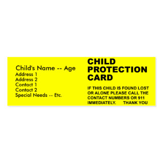 Child Protection Card (2) Business Card Template