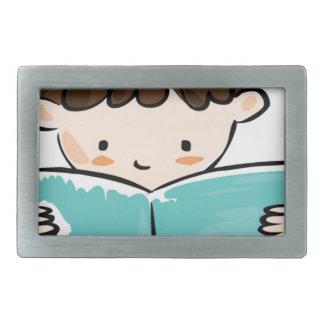 Child reading a book rectangular belt buckles