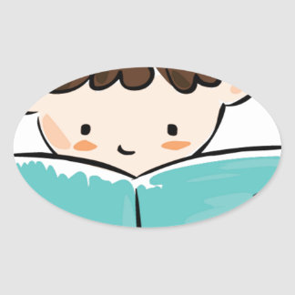 Child reading a book oval stickers