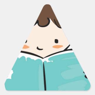 Child reading a book triangle sticker