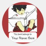 Child Reading Bookplate Round Stickers