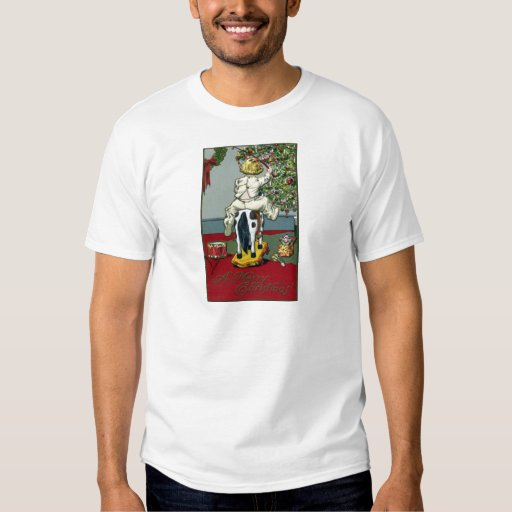 Child Riding Horse on Wheels on Xmas Day T-Shirt