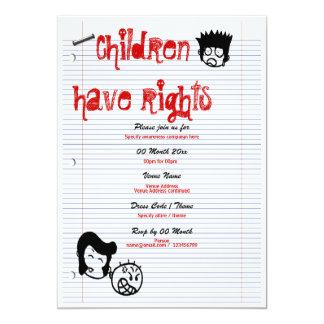 "Child rights awareness campaign corporate 5"" x 7"" invitation card"