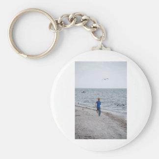 Child Running on the Beach Basic Round Button Keychain