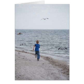 Child Running on the Beach Card