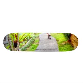 Child running on track skateboards