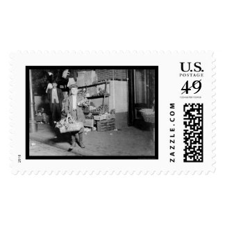 Child Selling Celery in Washington, DC 1912 Stamp