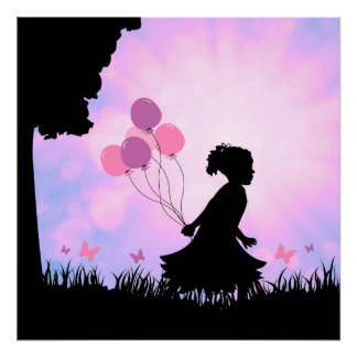 Child Silhouette Balloons Butterflies Wall Art
