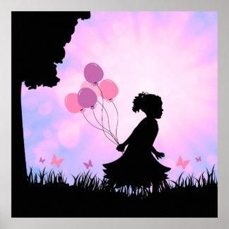 Child Silhouette Balloons Butterflies Wall Art