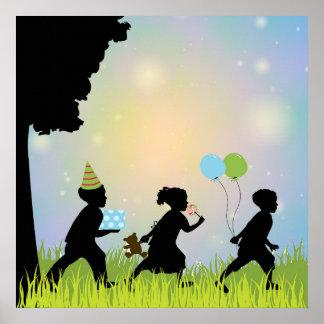 Child Silhouette Balloons Child Wall Art Print