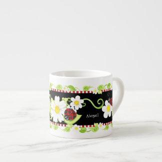 Child Size Teacup for Tea Parties, Ladybug flower 6 Oz Ceramic Espresso Cup