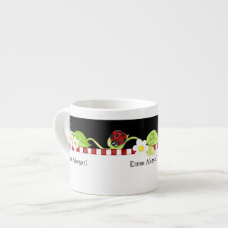 Child Size Teacup for Tea Parties, Ladybug flower Espresso Cup