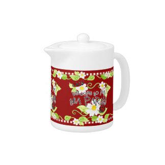 Child Size Teapot for Tea Parties, Ladybug flower