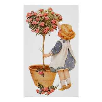 Child Tending Flowers Posters and Prints