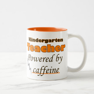 child terrible ears Teacher Powered by caffeine Two-Tone Coffee Mug
