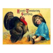 Child & Turkey Postcard