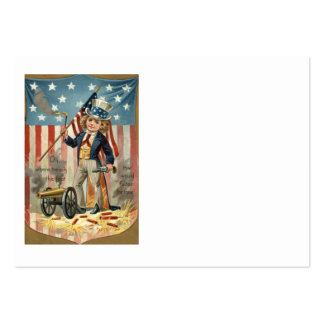 Child Uncle Sam Cannon Fire US Flag Business Cards