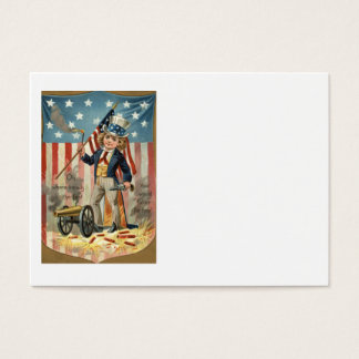 Child Uncle Sam Cannon Fire US Flag Business Card