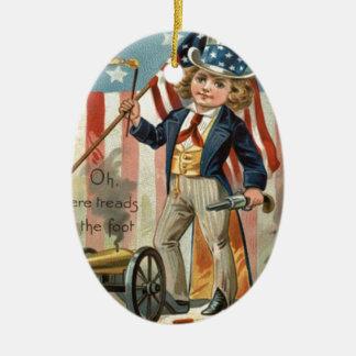 Child Uncle Sam Cannon Fire US Flag Ceramic Ornament