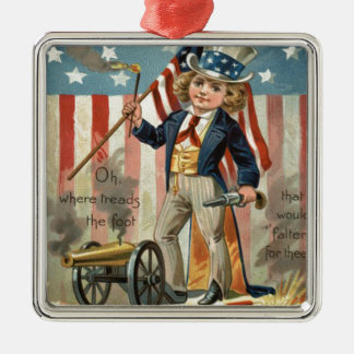Child Uncle Sam Cannon Fire US Flag Metal Ornament