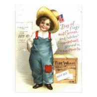 Child US Flag Box Fireworks 4th of July Postcard