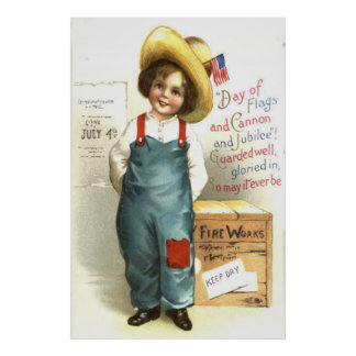 Child US Flag Box Fireworks 4th of July Poster