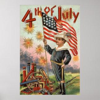 Child US Flag Fireworks Firecracker Explosion Poster