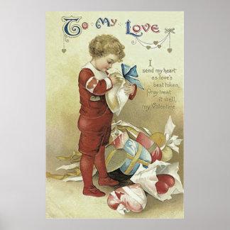 Child Valentine Presents Heart Poster