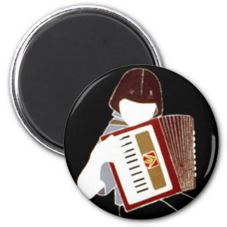Child with Accordion 2 Inch Round Magnet