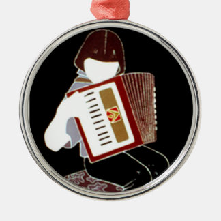 Child with Accordion Round Metal Christmas Ornament