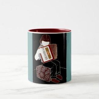 Child With Accordion Two-Tone Coffee Mug