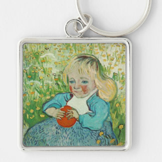 Child with an Orange by Vincent van Gogh Silver-Colored Square Keychain
