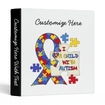 Child With Autism Awareness Ribbon 3 Ring Binder