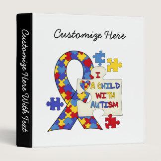 Child With Autism Awareness Ribbon 3 Ring Binder