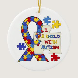 Child With Autism Awareness Ribbon Ceramic Ornament