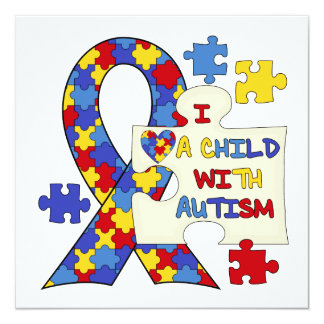 "Child With Autism Awareness Ribbon 5.25"" Square Invitation Card"
