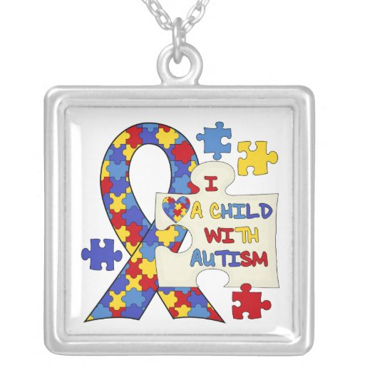 Child With Autism Awareness Ribbon Necklaces