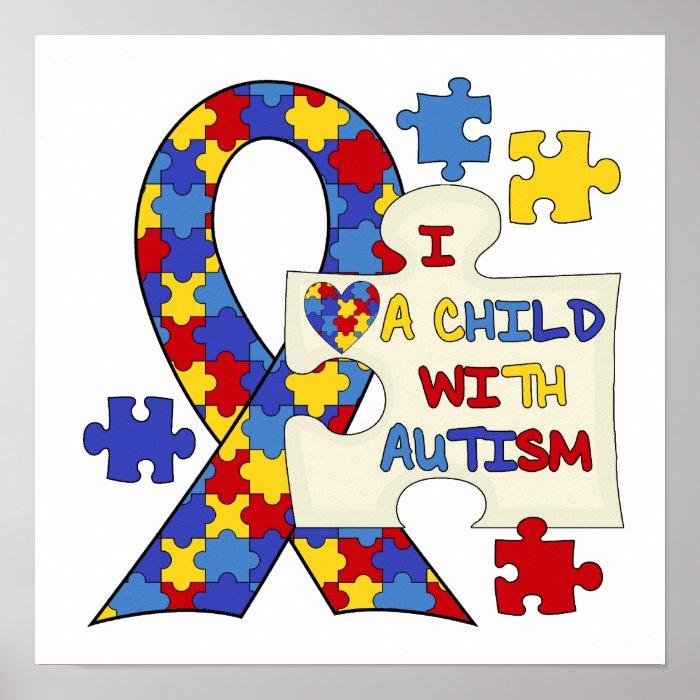Autism Awareness Art Posters Framed Artwork: Child With Autism Awareness Ribbon Poster