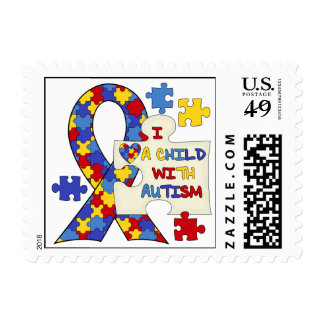 Child With Autism Awareness Ribbon Stamp