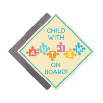 Child With Autism On Board Awareness Car Magnet