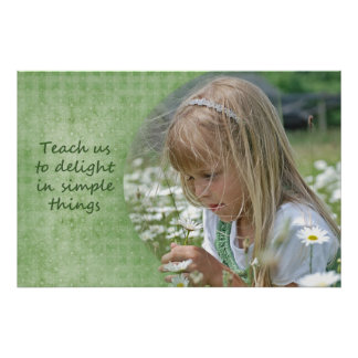 child with daisies poster