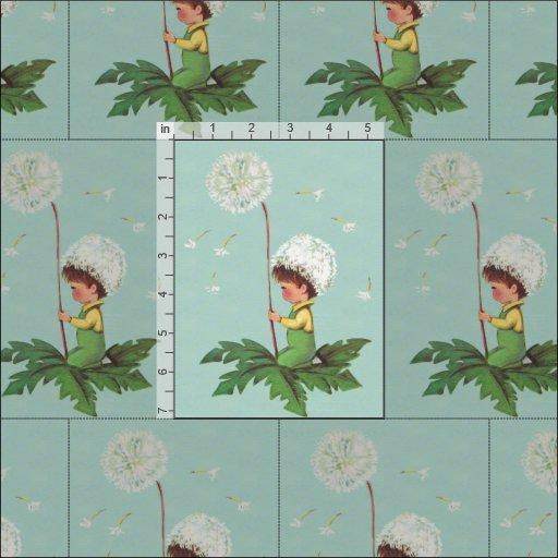 Child with dandelion flower vintage print fabric zazzle for Vintage childrens fabric prints