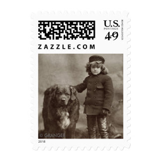 Child With Dog, C1885 Stamp