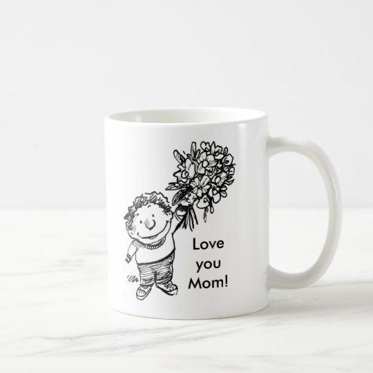 child with flowers, child with flowers, Love yo... Coffee Mug