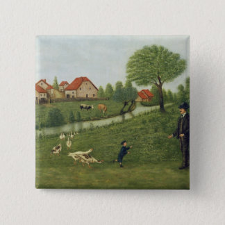 Child with Geese Pinback Button