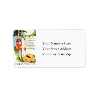 Child With Jack O Lanterns Vintage Address Label