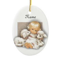 Child with lamb ceramic ornament